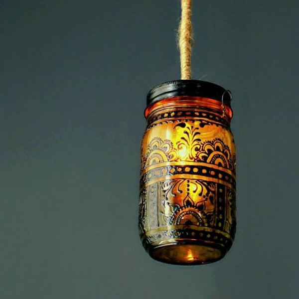 Einweckglas-Laterne-Bernstein-Farbe-schwarze-Henna-Dekoration