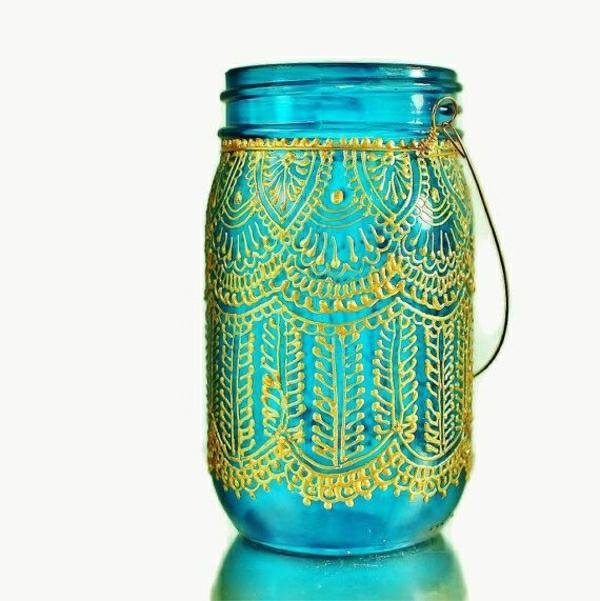 Einweckglas-Laterne-Blau-goldene-Detaile-Dekoration-marokkanischer-Stil