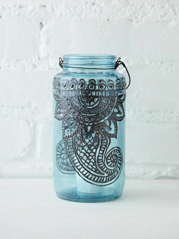 Einweckglas-Laterne-Blau-schwarze-Dekoration-Henna