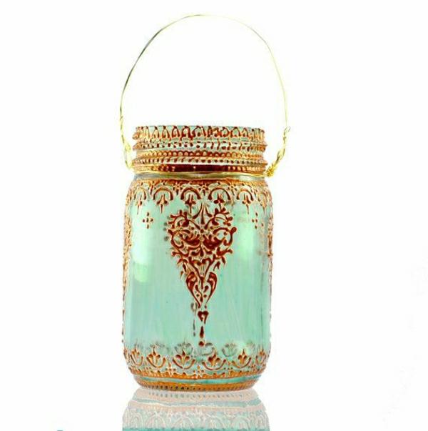 Einweckglas-Laterne-Marokko-Stil-türkisblau-goldener-Henna-Muster