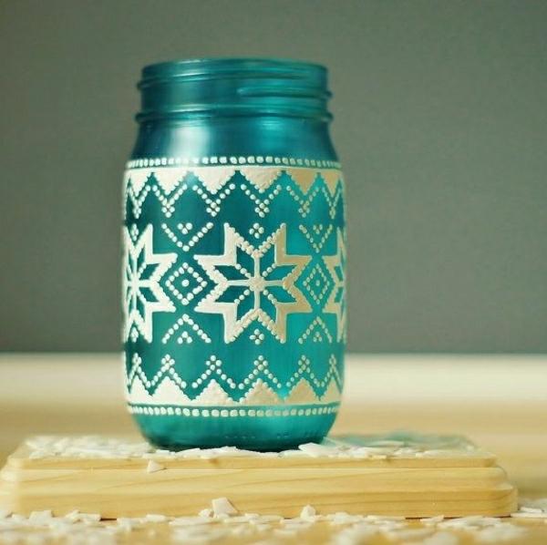 Einweckglas-Laterne-blaues-mattes-Glas-Schneeflocken-Dekoration