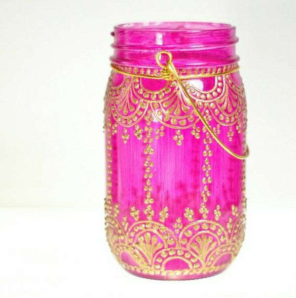 hängende-Einweckglas-Laterne-sußes-Rosa-goldener-Henna-Muster