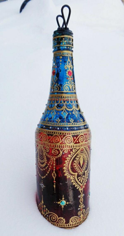 Flasche-Rot-Blau-goldene-Henna-Wasserpfeife-Dekoration-Schnee