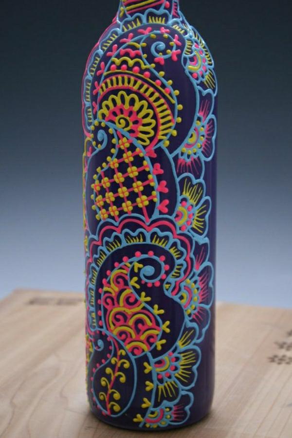 Flasche-Henna-Muster-Dunkelblau-Hellblau-Gelb-Rosa