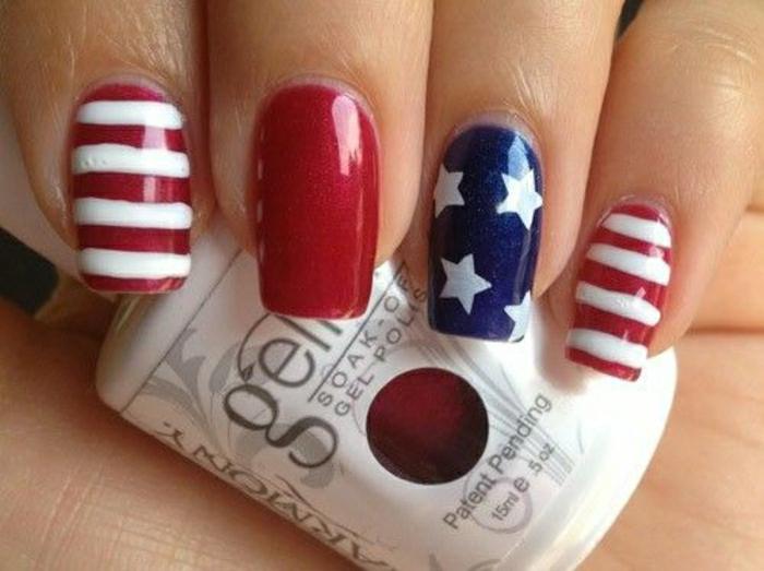 Gel-Nägel-amerikanische-Flagge