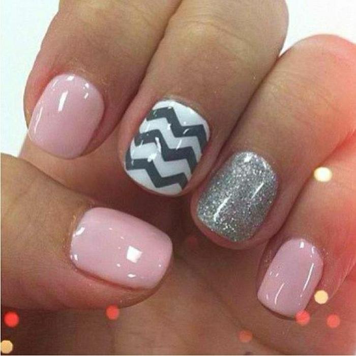 Gel-Nägel-rosa-weiß-grau-Glanz