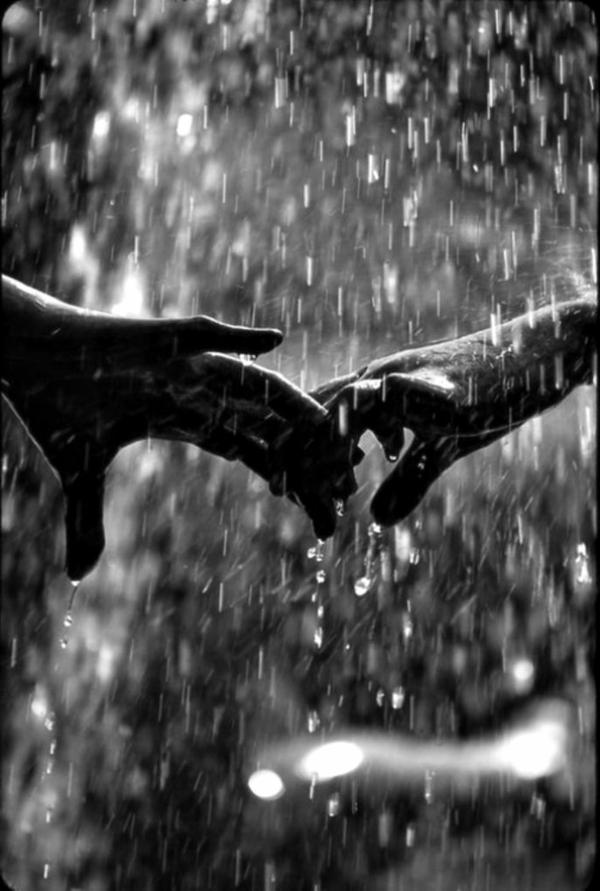 Berührung-Hände-Regen