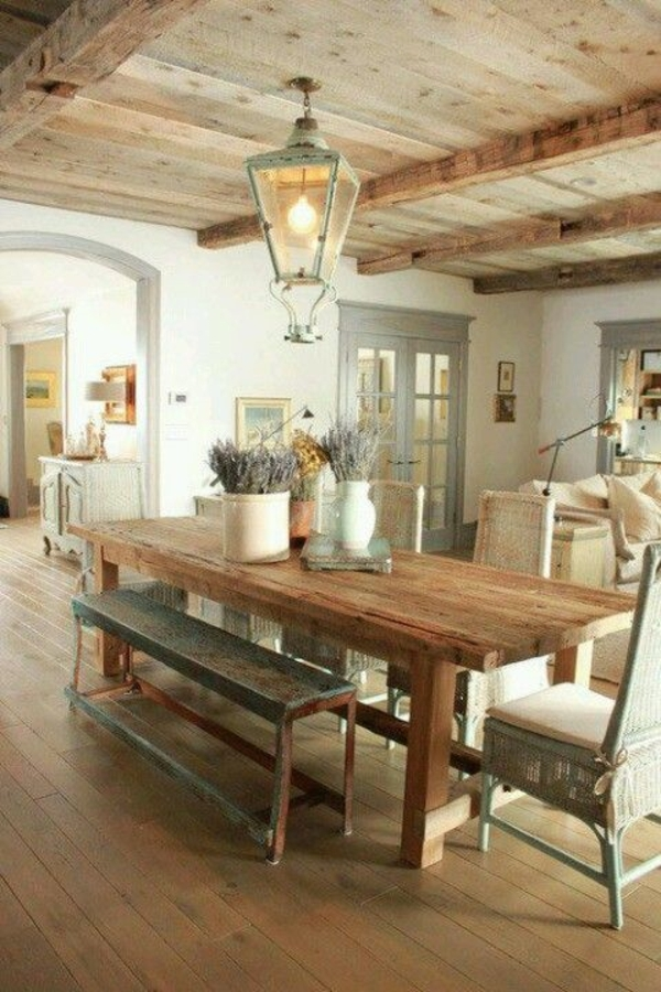Küche-Bauernhaus-Laterne-Leuchte-Tisch-Massivholz-Bank-Lavendel