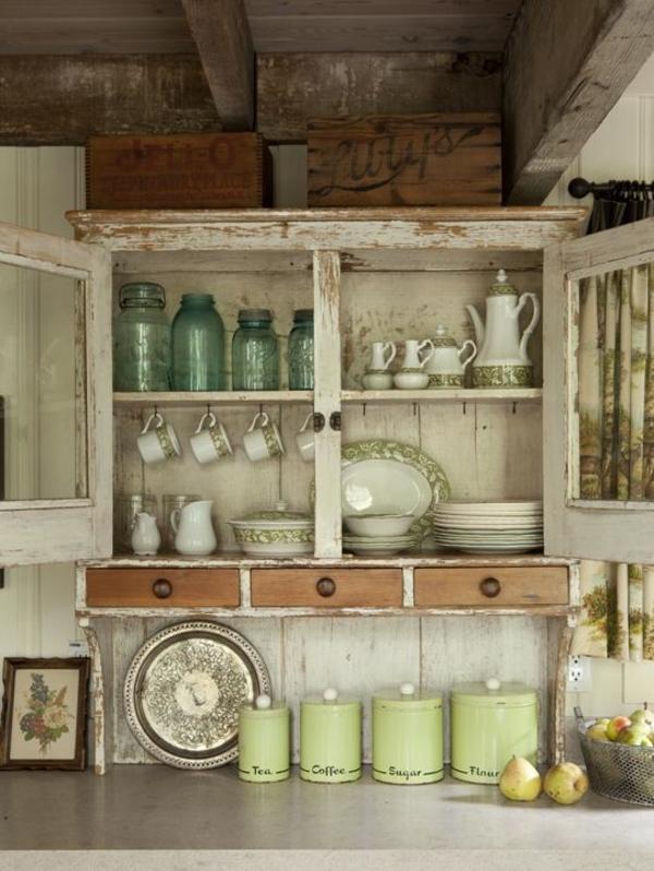 Küche-Vintage-Design-Geschirr-Kühenschrank