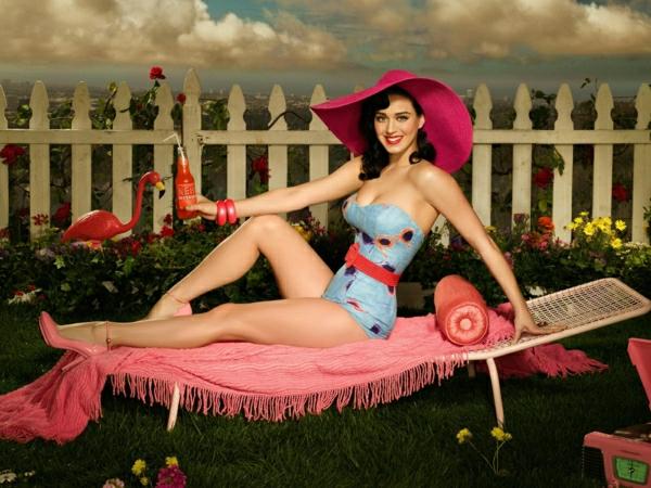 Katy-Perry-Liegestuhl-rosa-Decke-Hut-ArmbänderSchuhe-Flamingo-Getränk-Zaun