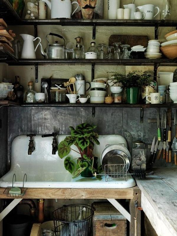 Landhausstil-Küche-Waschbecken-Pflanzen-Geschirr