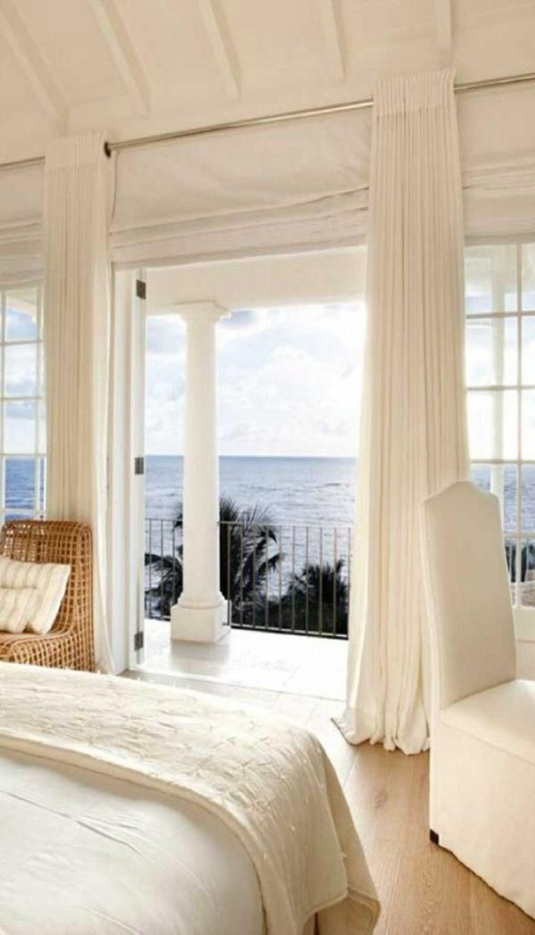 Meeransicht-Spalte-Vorhang-weiß-Zuckerrohr-Stuhl