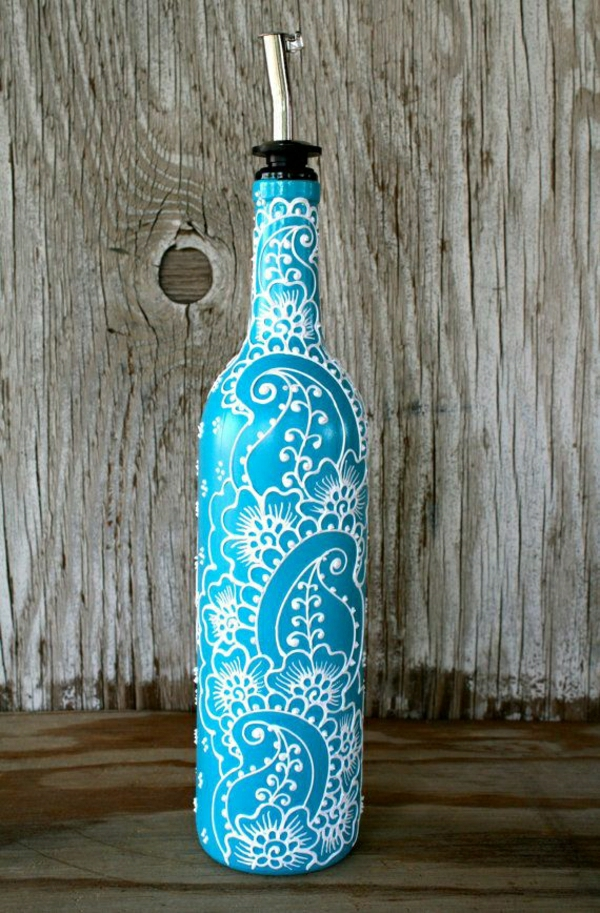 Olivenöl-Behälter-Henna-Türkisblau-Weiß