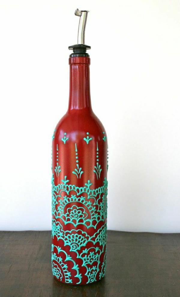 Olivenöl-Behälter-Henna-Weinrot-Türkisblau