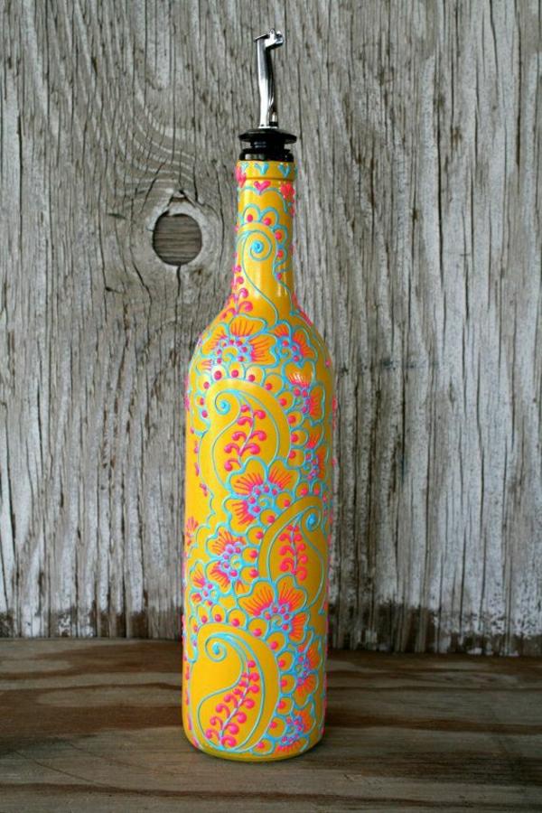 Olivenöl-Behälter-Henna-Dekoration-handgemalt-Gelb-Orange-Blau-Rosa