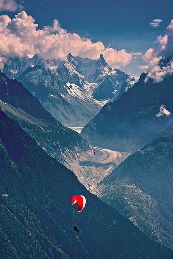 Paragleiten-Natur-Gebirge-Himmel-Wolken-Schnee