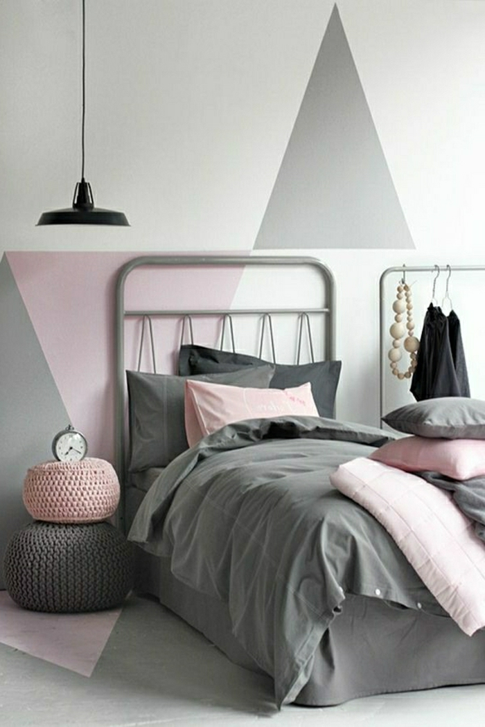 Pastell-Wandfarben-farbpalette-farbgestaltung-bett-dreiecke