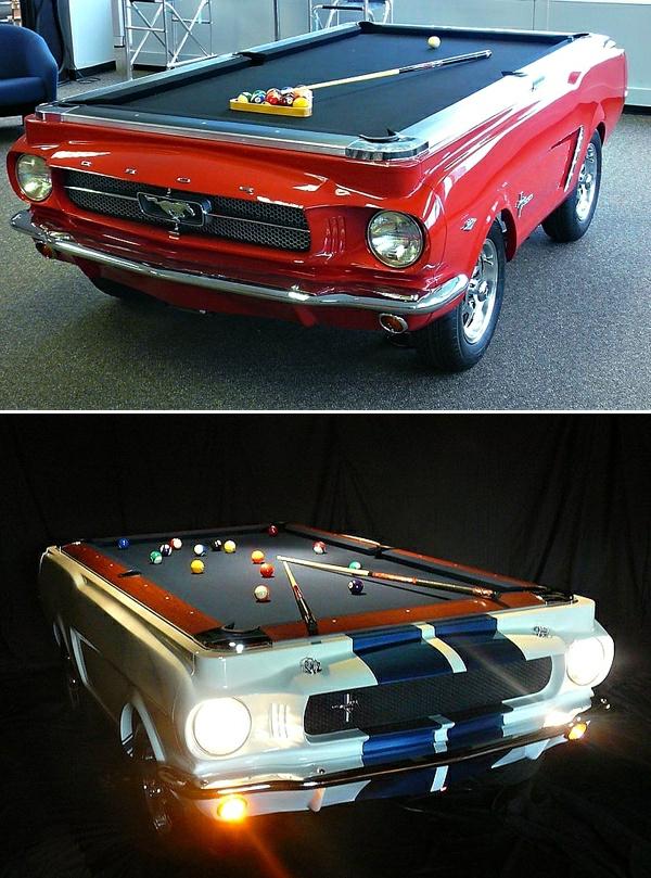 Retro-Mustang-Spieltisch-zwei-Modelle-rot-weiß