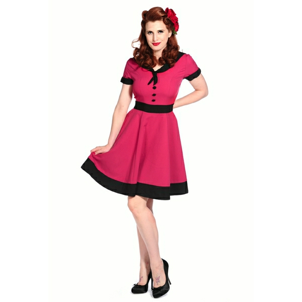 rosa-Rockabilly-Kleid-Stockschuhe-Rose-lange-Haaren