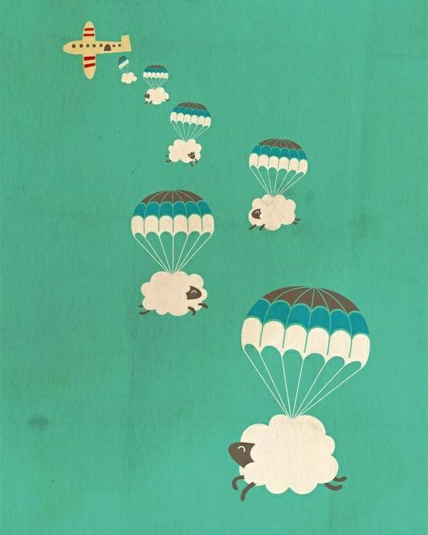 Schafe-Fallschirme-fliegen-Flugzeug-Kunst-Art