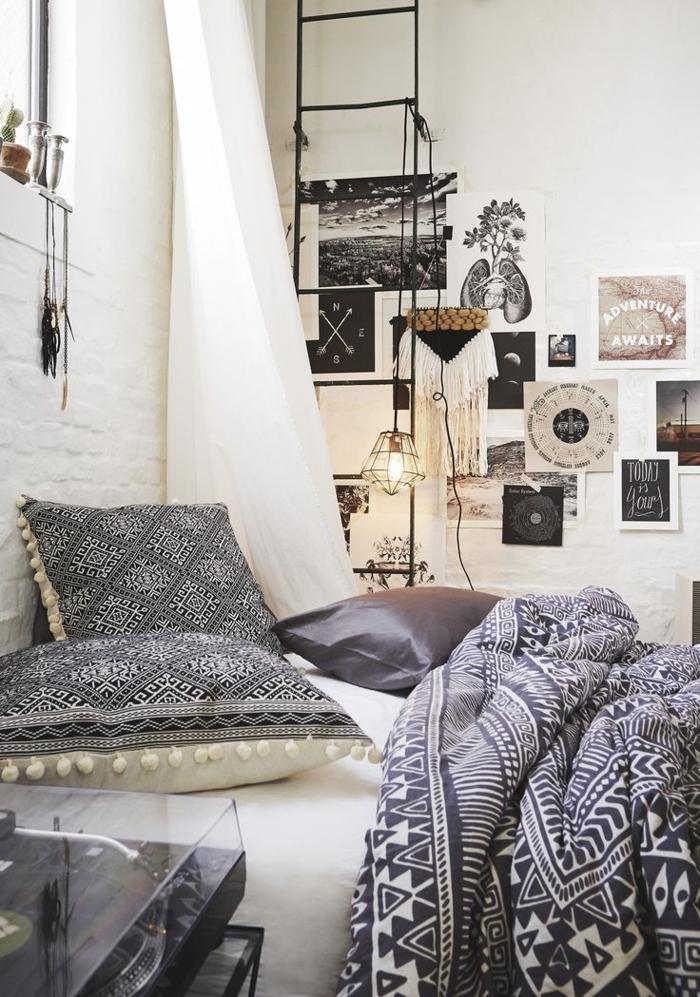 Schlafzimmer-Ideen-in-Schwarz-und-Weiß-Boho-Einrichtung-Posters