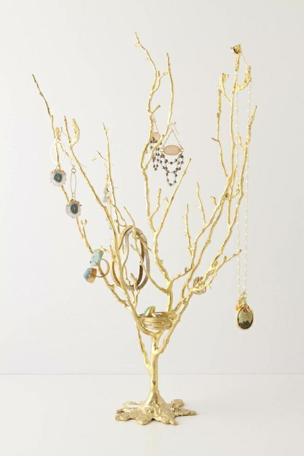 Schmuckständer-Baum-goldene-Ringe-Armreife-Ohrringe-Halsketten-Steine