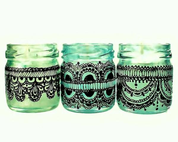 Set-drei-Mini-Einweckglas-Kerzenhalter-Grün-Henna-schwarze-Spitze