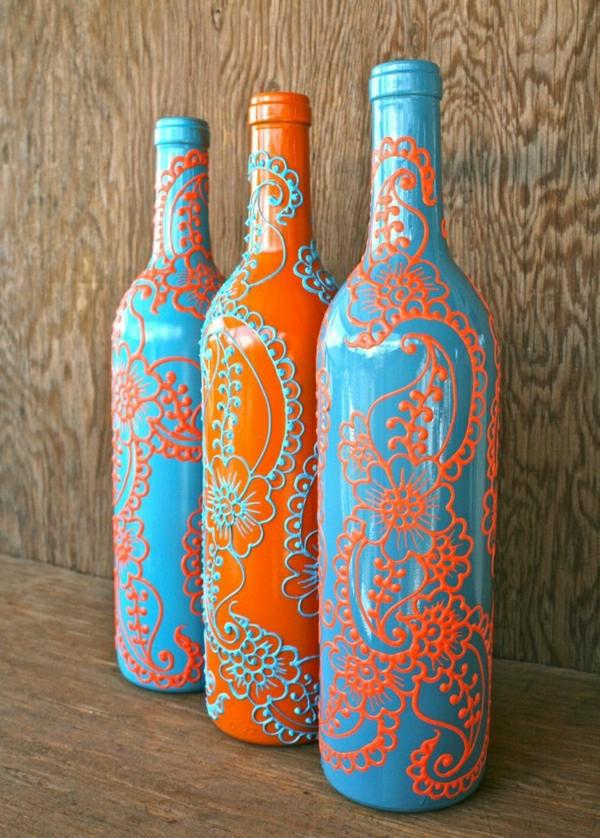 Set-drei-Weinflaschen-Henna-Dekoration-Blau-Orange
