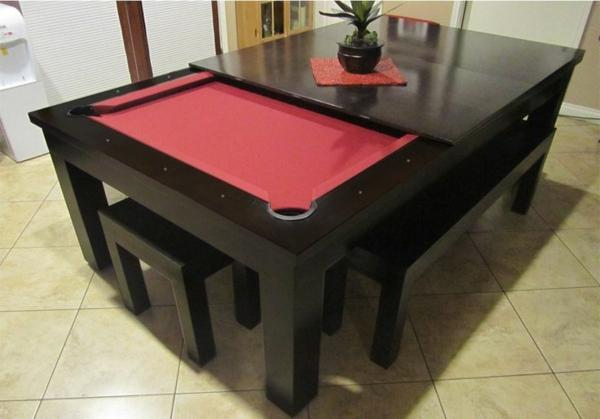Spieltisch-Esstisch-kombiniert-rote-Spielfläche-Hocker-Blumentopf