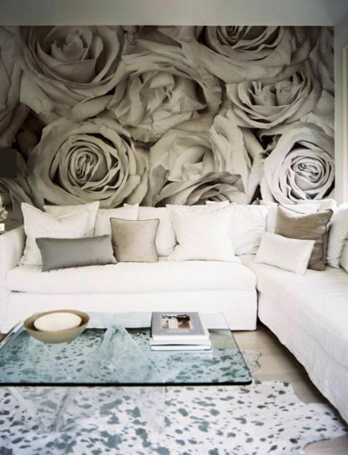 Tapete-Wohnzimmer-graue-Rosen