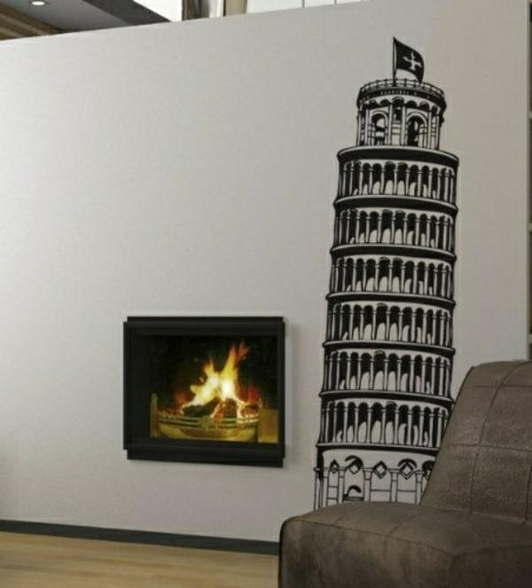 Turm-von-Pisa-Wand-Tattoo-Kamin