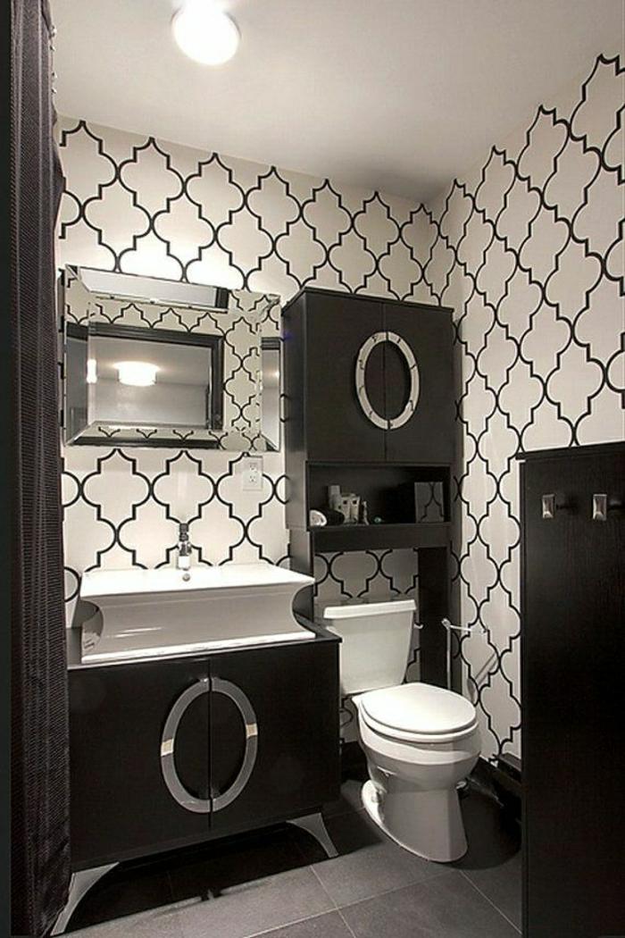 Wand-Deko-Badezimmer-Vinyl-Tapete-schwarz-weiß