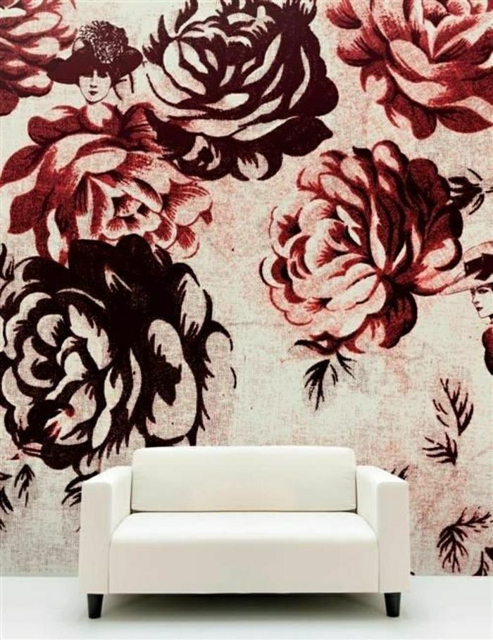 Wand-Gestaltung-Blumen-Druck-Creme-Farbe-Marsala-Sessel