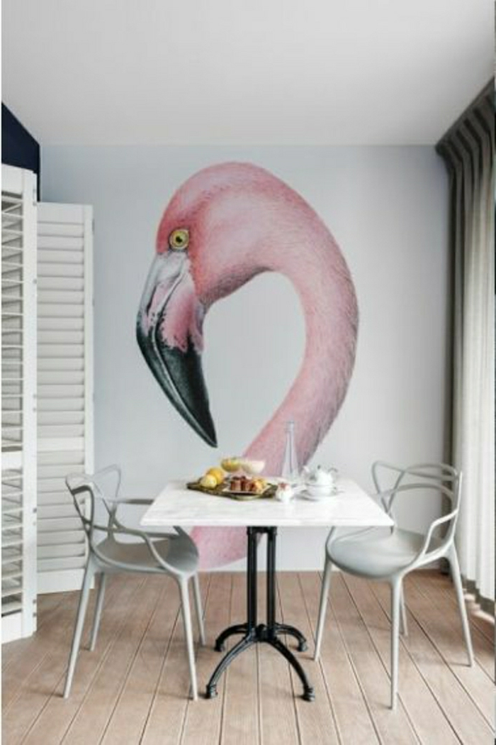 Wand-Gestaltung-Flamingo-Druck