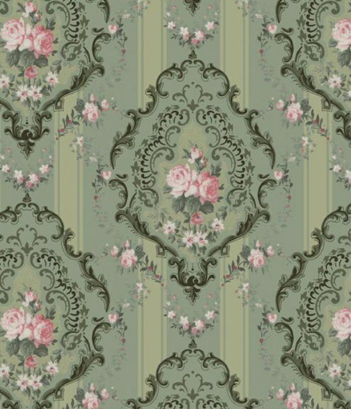 Wand-Gestaltung-moderne-Tapeten-Rococo-Stil-Victorianer-Kunst-Rosen-Druck
