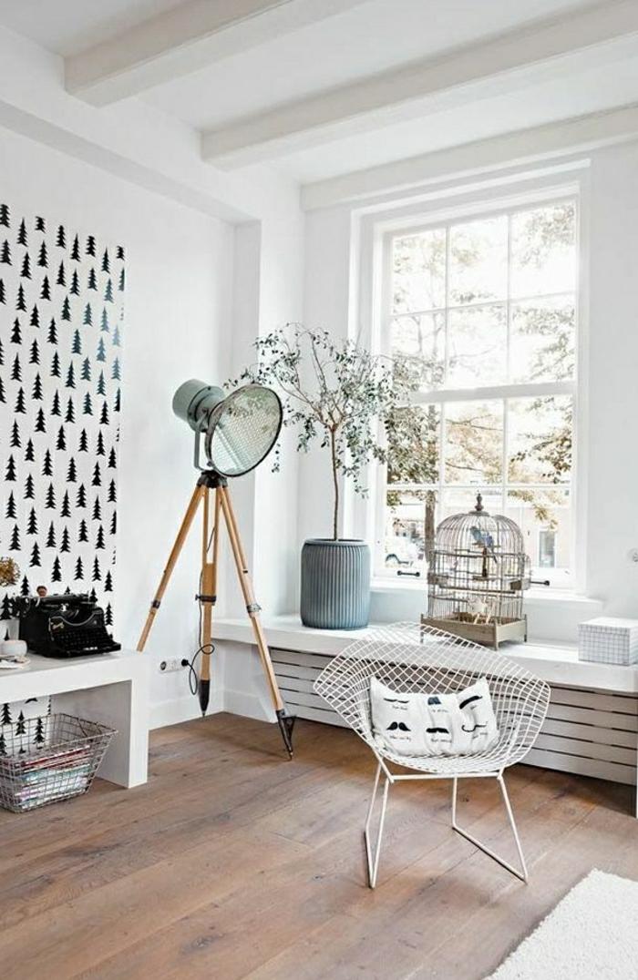 Wand-Gestaltung-Tannen-Druck-schwarz-weiß-Vogelkäfig