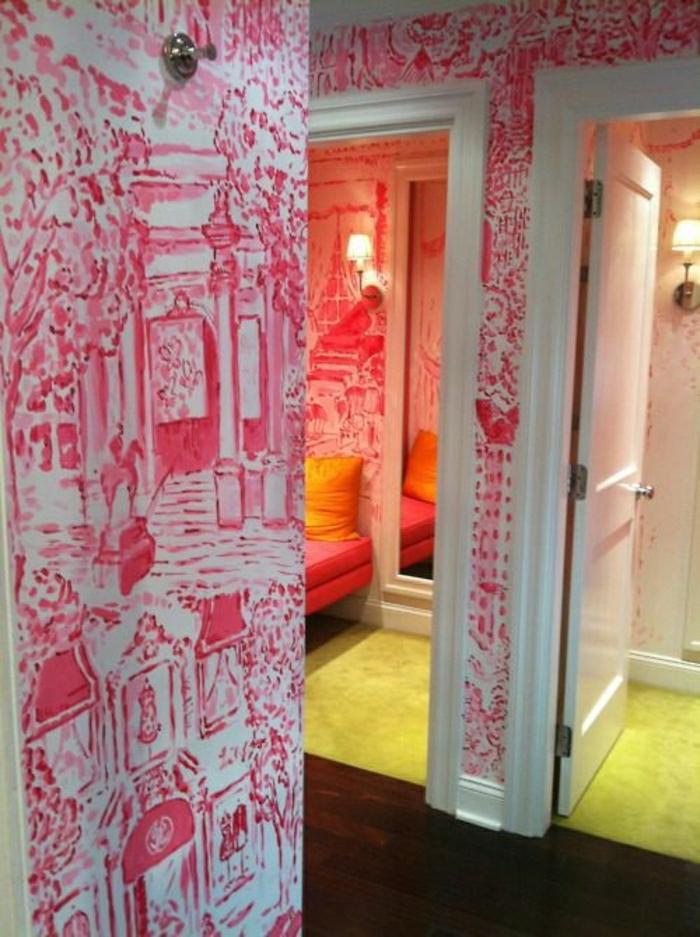 Wand-Gestaltung-modernes-Design-weiß-rote-Zeichnungen
