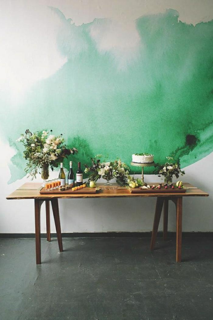 Wand-Gestaltung-schmelzende-Farben-weiß-grün