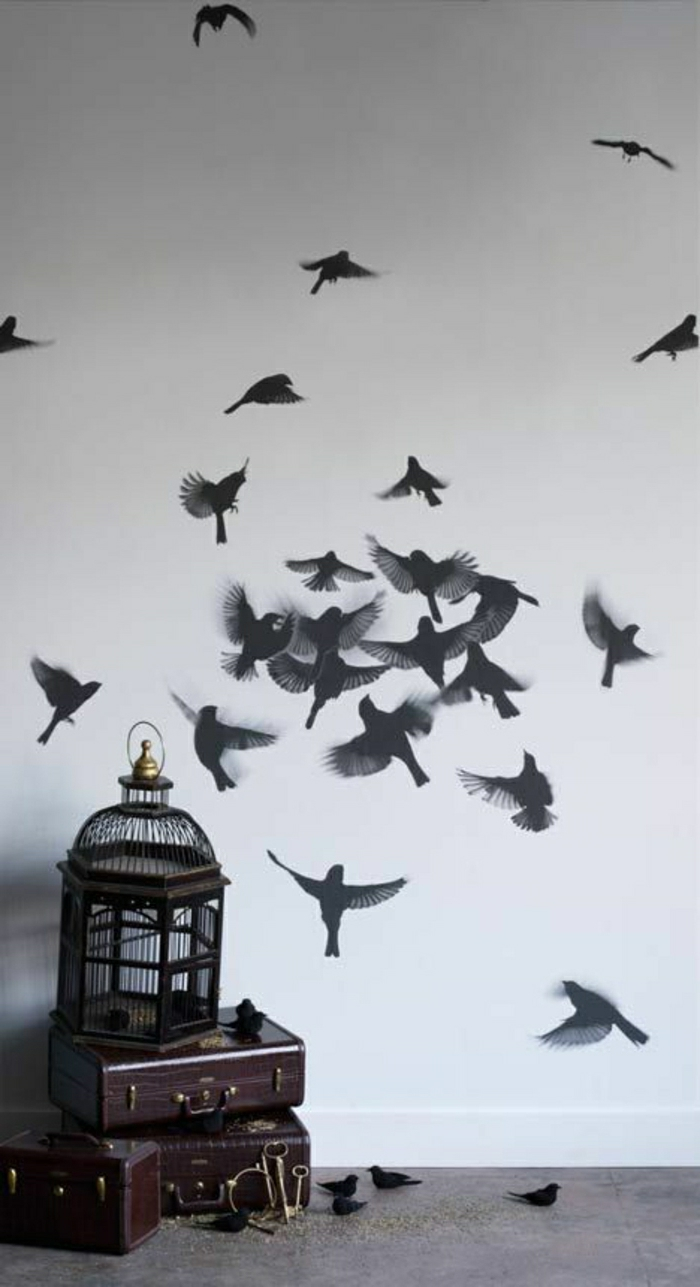 Wandgestaltung-Tapete-Vögel-Druck