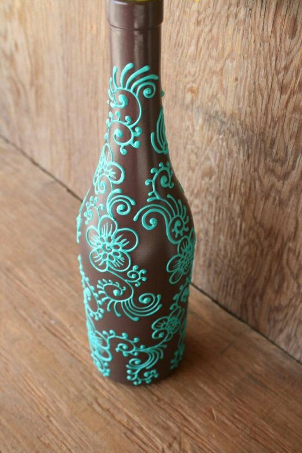 Weinflasche-Henna-Braun-Türkisblau-handgemalt