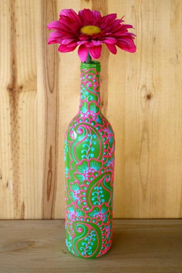 Weinflasche-Vase-Henna-Grün-Blau-Rosa-Blume