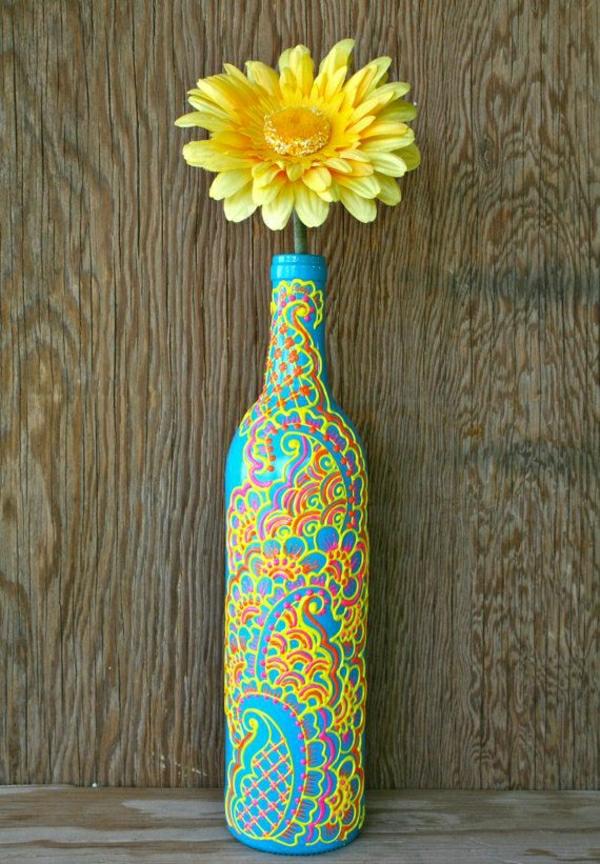 Weinflasche-Vase-Gerbera-Henna-Dekoration-Blau-Lila-Rosa-Gelb-Rot