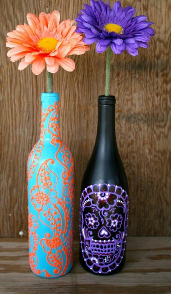Weinflaschen-Henna-Dekoration-Schachtel-Blau-Orange-Schwarz-Lila-Gerbera