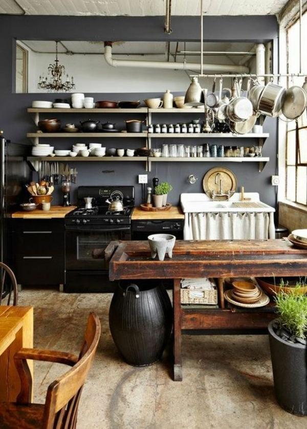 antik-Vintage-Küche-Massivholz-Tisch