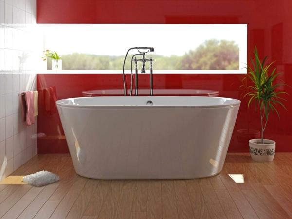 badezimmer-gestalten_badewanne_rote-wandfarbe
