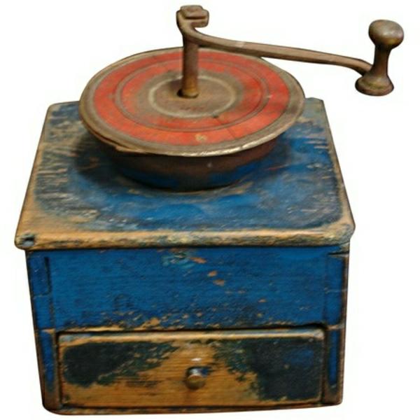 blaue-Vintage-Kaffee-Mühle