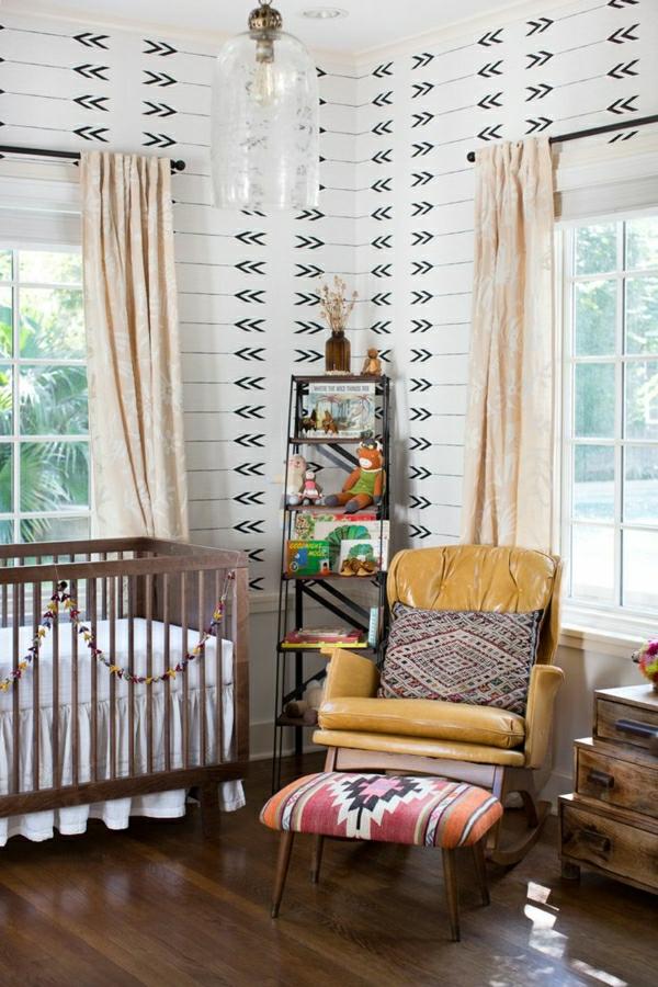 coole-wandgestaltung-babyzimmer-weiß-schwarz
