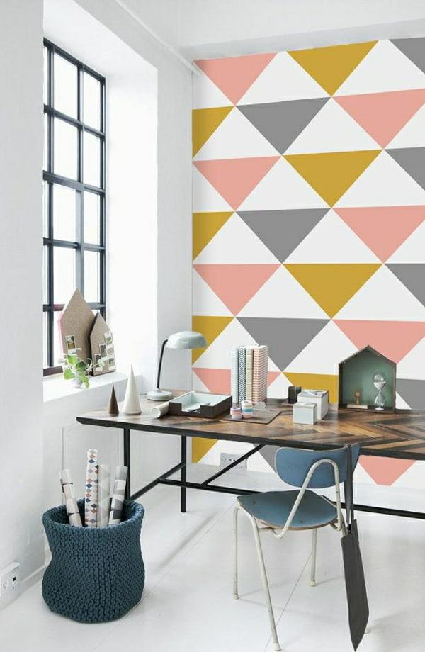 Wandgestaltung Schlafzimmer Mit Tapeten : Tapeten mit geometrischen Motiven
