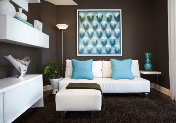 dekoration-in-türkis-farbe-elegante-gestaltung - großes bild an der wand