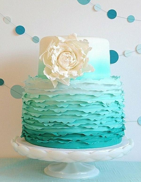 Dekoration In Türkis Farbe Wunderschönes Modell Von Torte